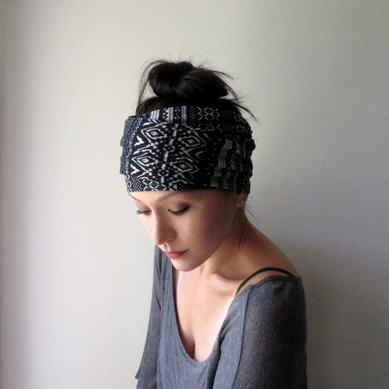 fair isle black and white ecoshag headscarf