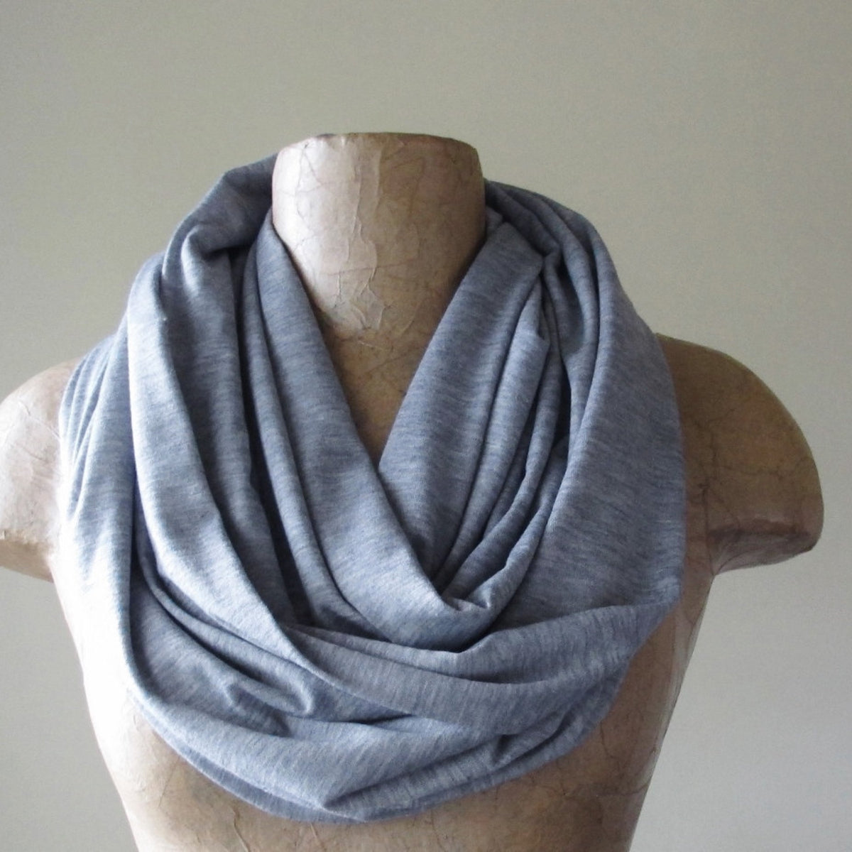 heather gray ecoshag jersey knit infinity scarf