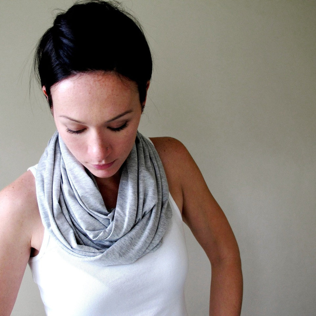 heather grey ecoshag infinity scarf