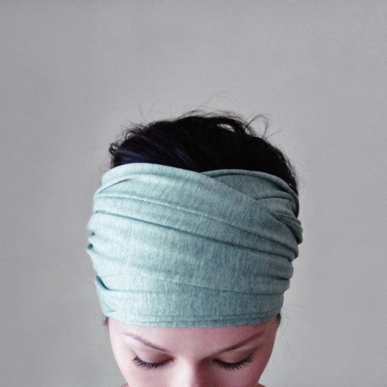 ecoshag icy mint jersey extra wide boho head scarf for women