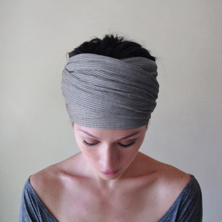 ecoshag light gray ribbed head scarf for women