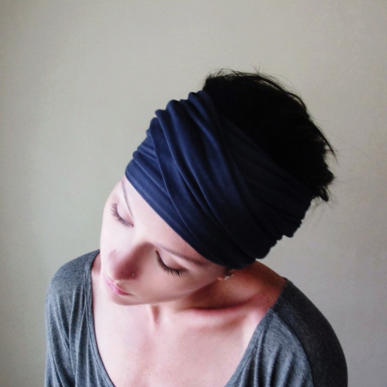 midnight blue ecoshag jersey head wrap