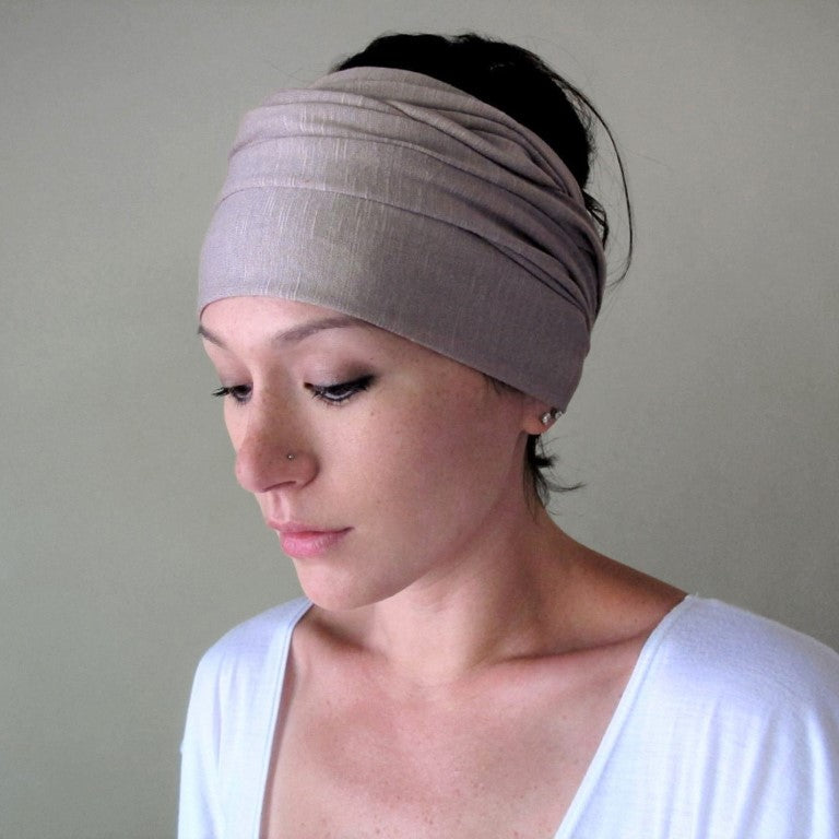 ecoshag mushroom greige boho head scarf for women