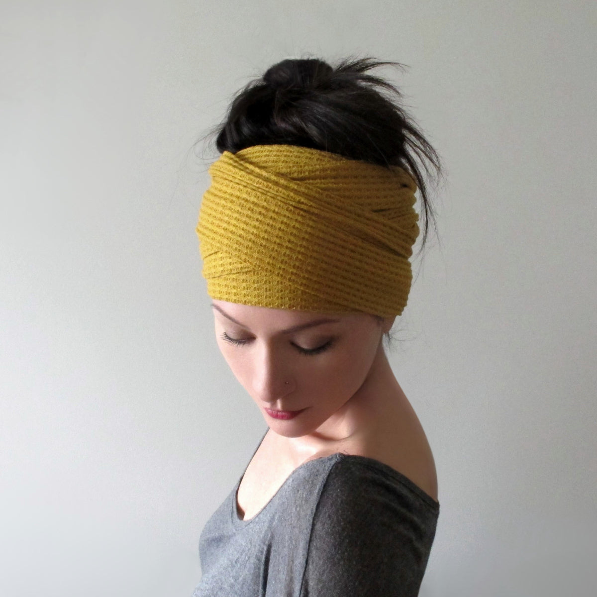 ecoshag mustard yellow head scarf