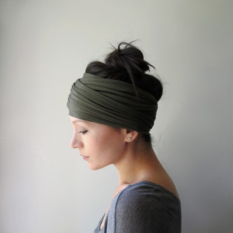 ecoshag olive green head scarf