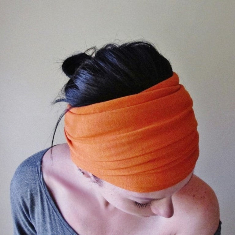 tangerine orange ecoshag head scarf for women