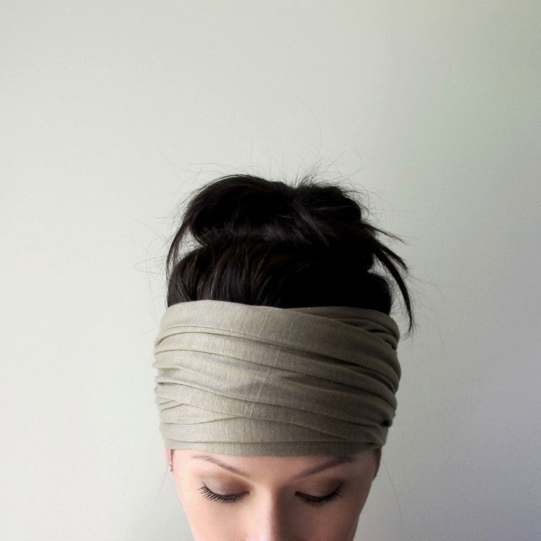 sage green ecoshag head scarf