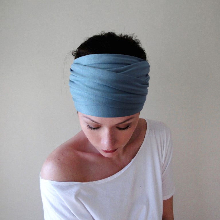 ecoshag sky blue boho head scarf for alopecia