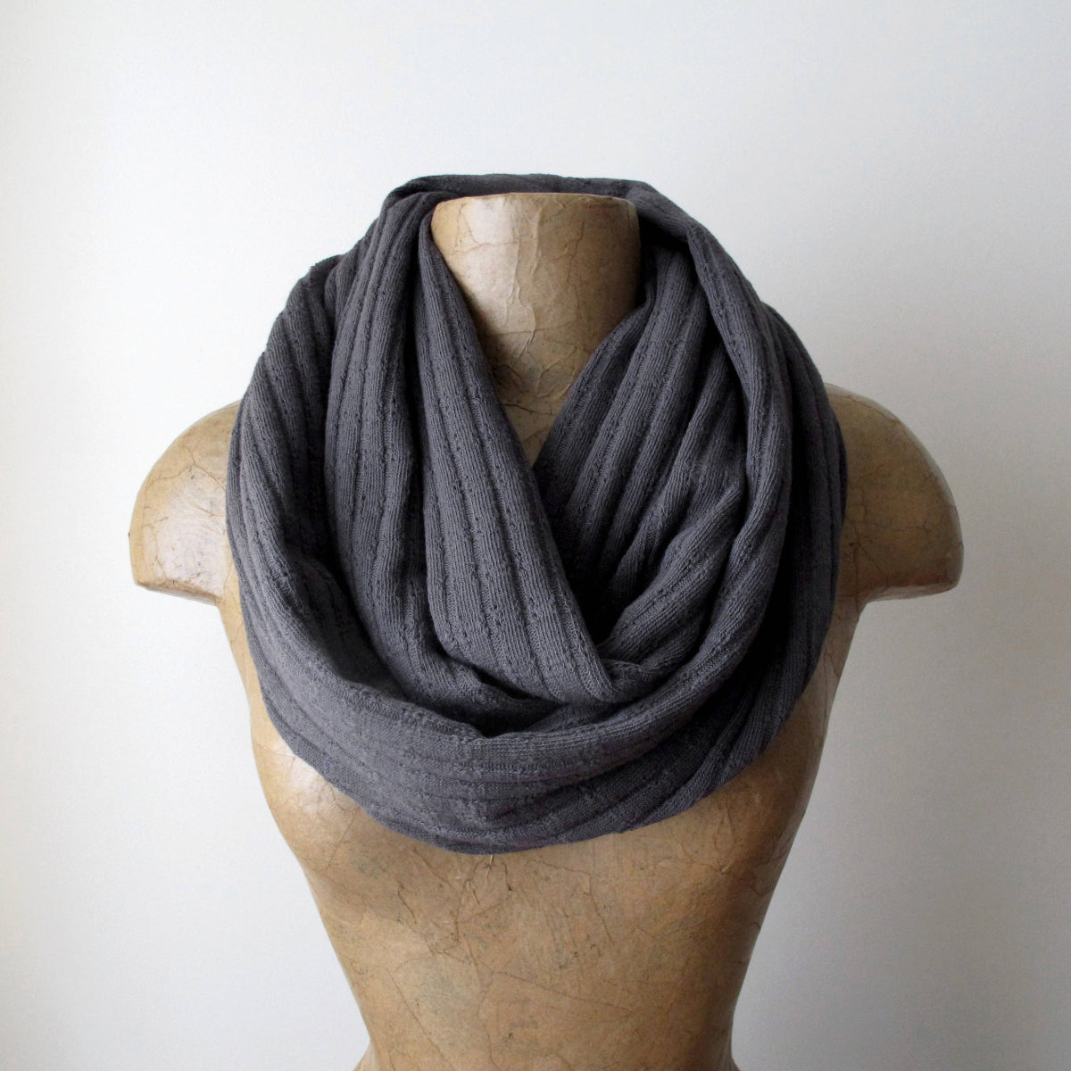 ecoshag grey sweater knit infinity scarf