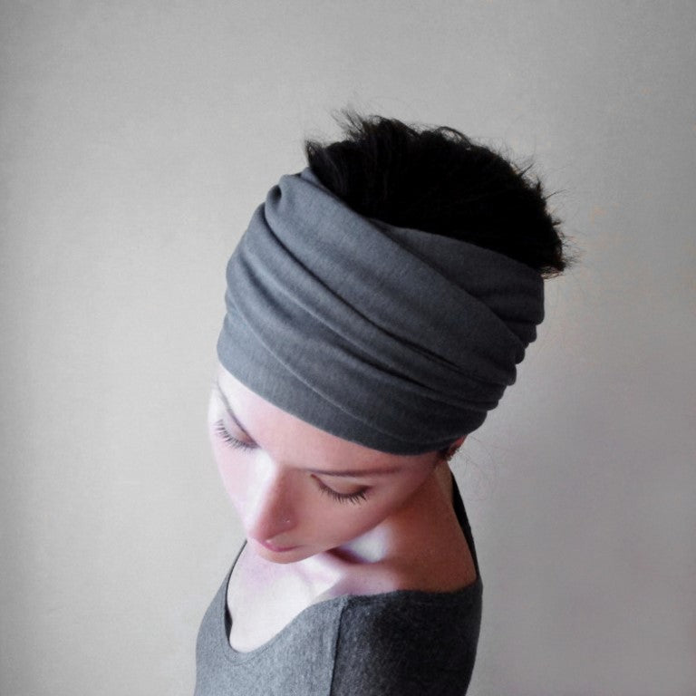 ecoshag  gray head scarf for alopecia