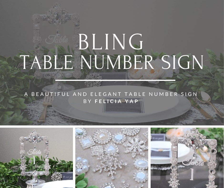 DIY Wedding Bling Table Number Sign by Most Delightful Way