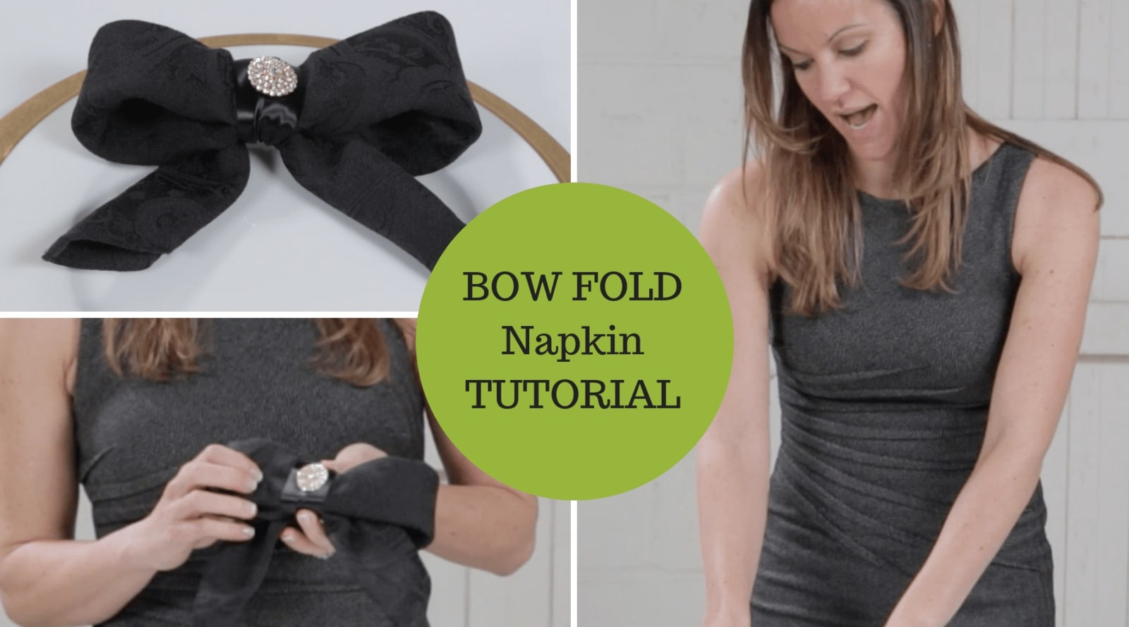 Napkin Folding Tutorial Bow Fold Technique With Added Bling Totally Dazzled