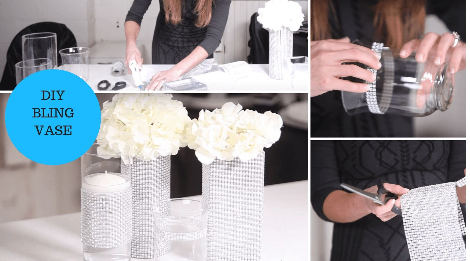 DIY Bling Vase with Rhinestone Mesh Ribbon