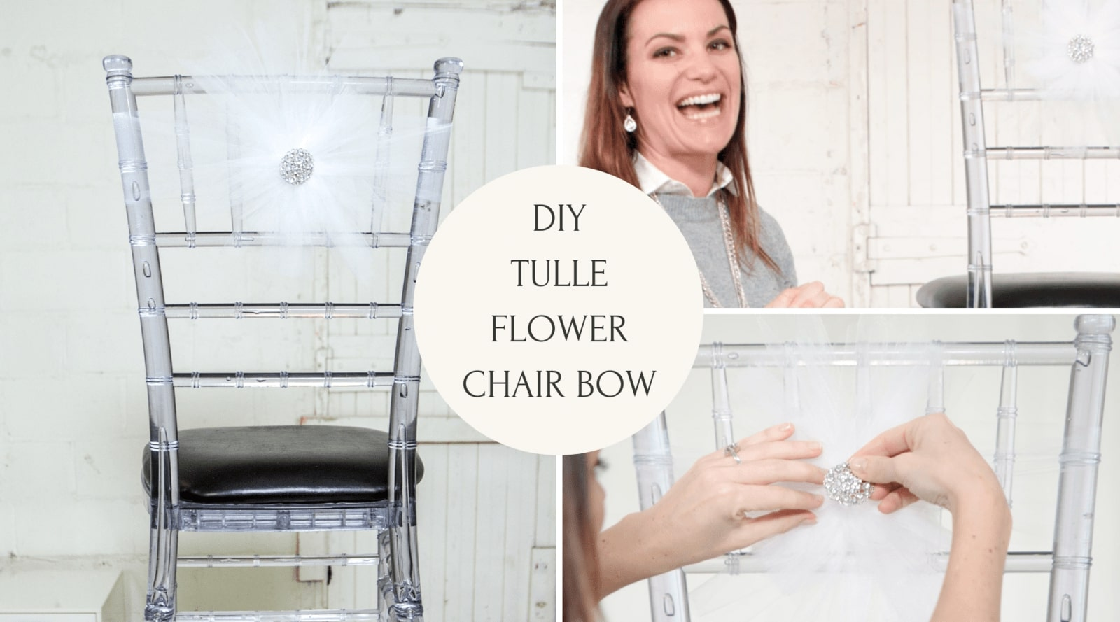 DIY Tulle Flower Chair Bow