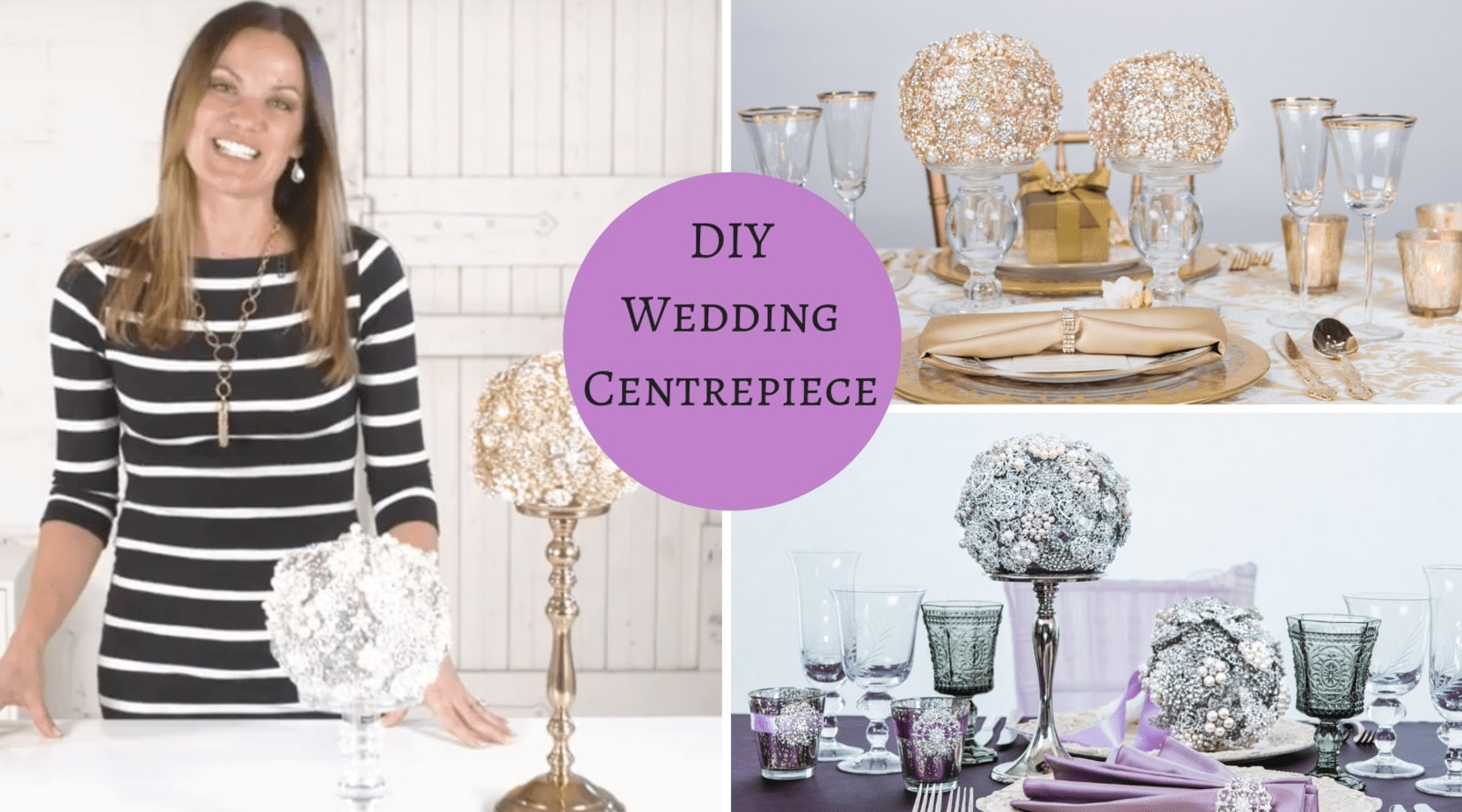 Wedding DIY Centerpiece - Brooch Ball Centerpiece