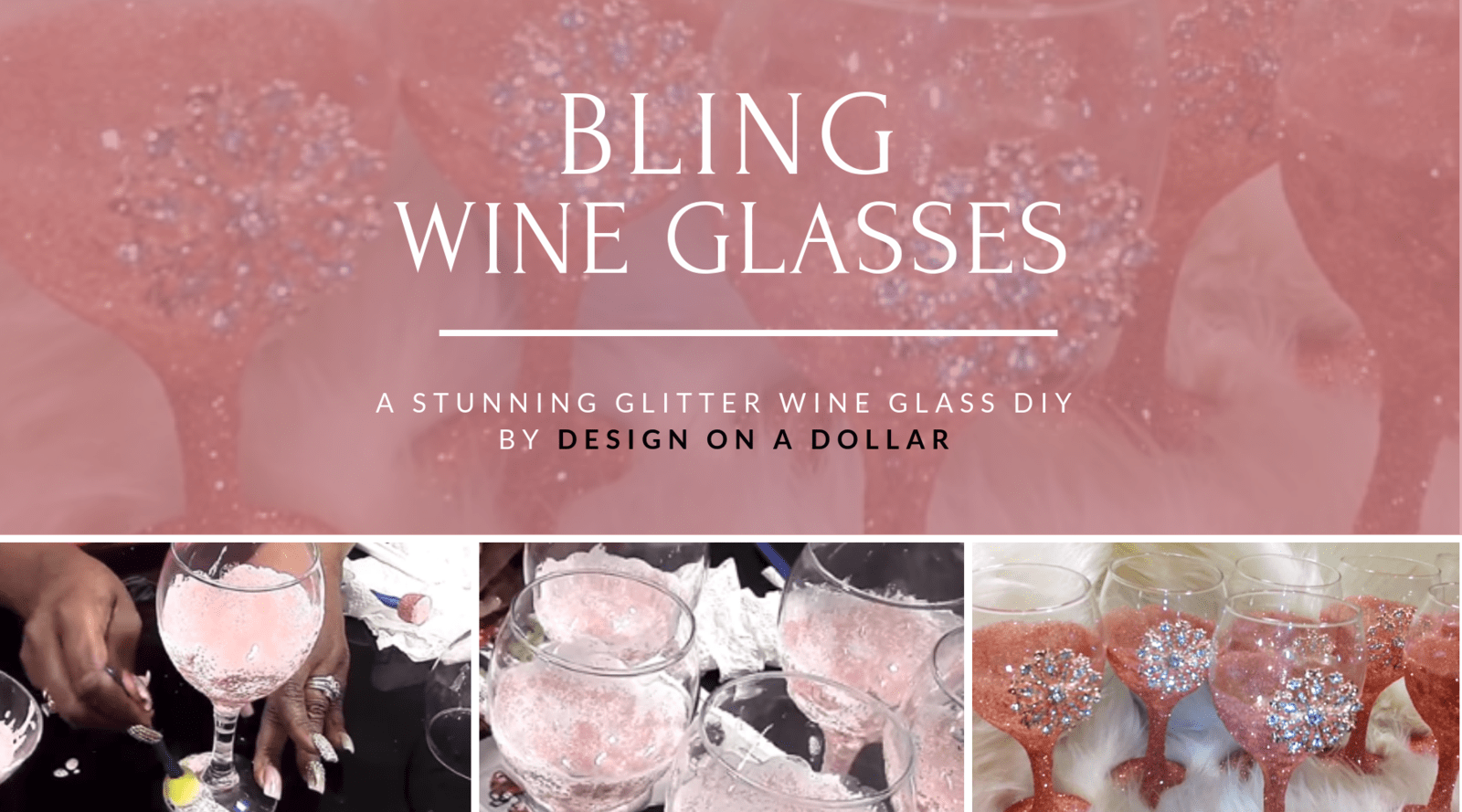 DIY Rose Gold Glitter Wine Glasses by Design on a Dollar