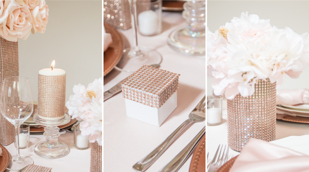 Rose Gold Bling Wrap Table scape