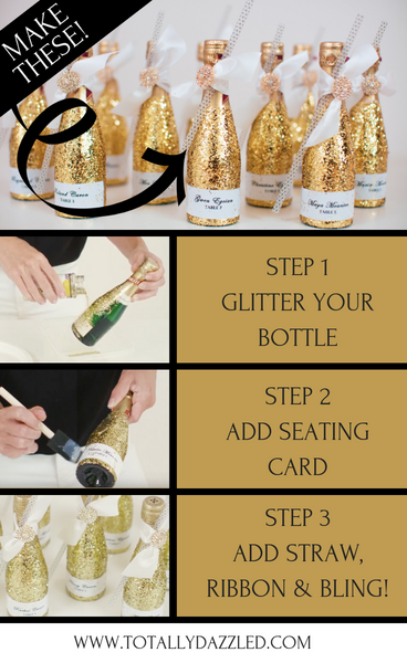 Bottle Bling! Sparkly Glitter Champagne Bottle Wedding Decoration