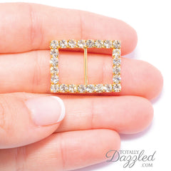 Gold Rhinestone Rectangle Buckle 104-G