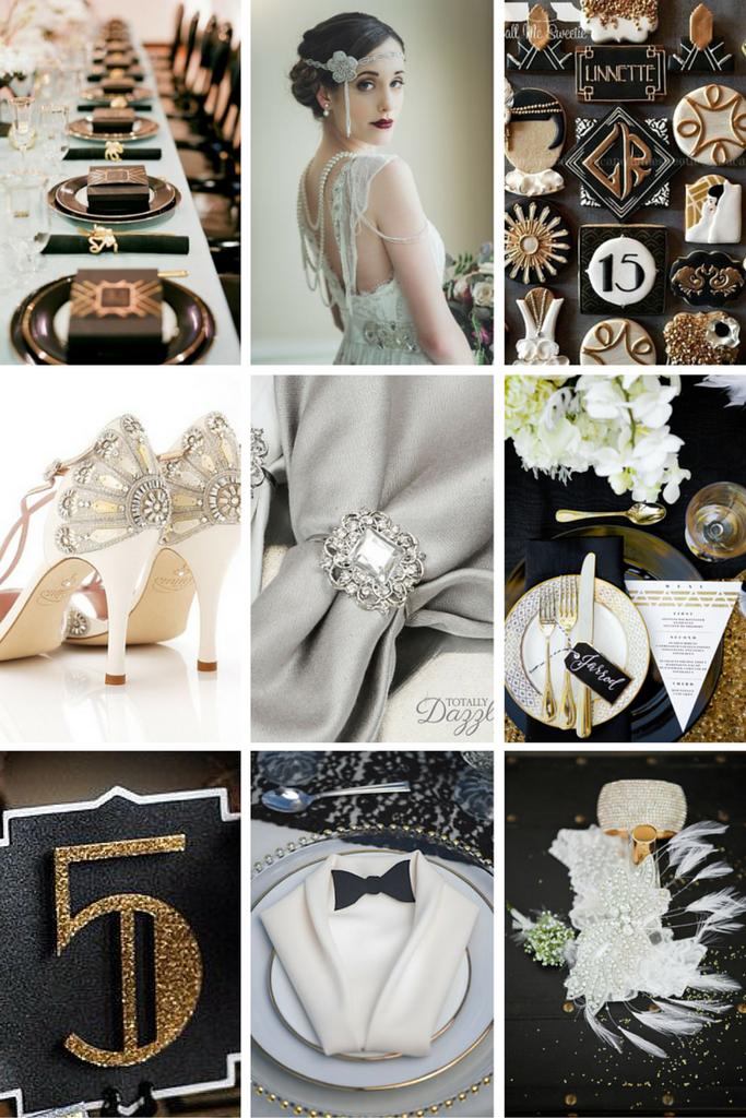 Great gatsby wedding theme inspiration this stunning combination of glitz and glam with strong art deco elements makes a bold statement that looks totally amazing junglespirit