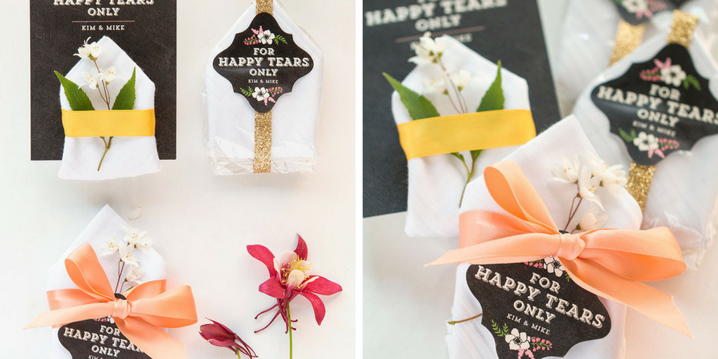 23 wedding favors - handkerchiefs