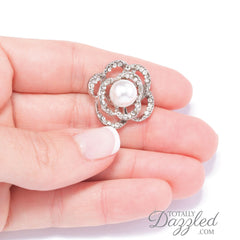 Pearl and Rhinestone Flower Buttons 706
