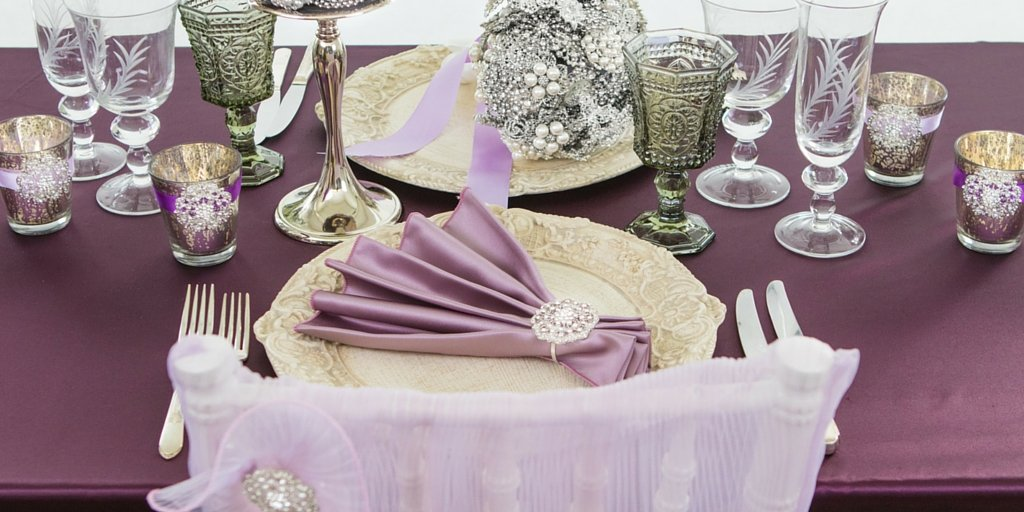 Purple And Silver Table Set Up