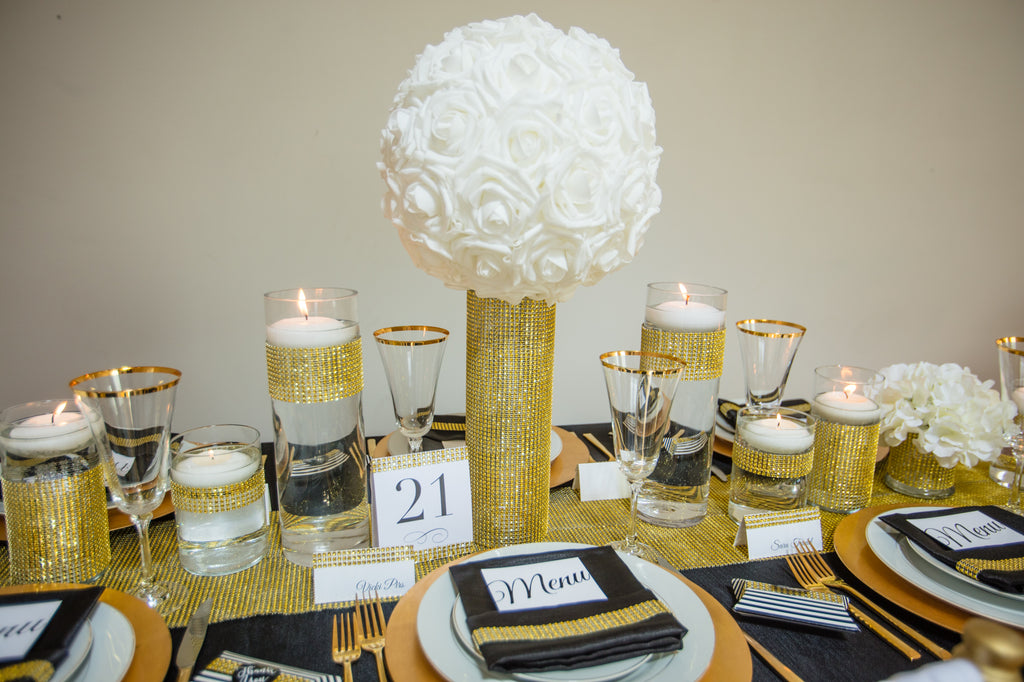 Totally Dazzled Gold Bling Wrap Table