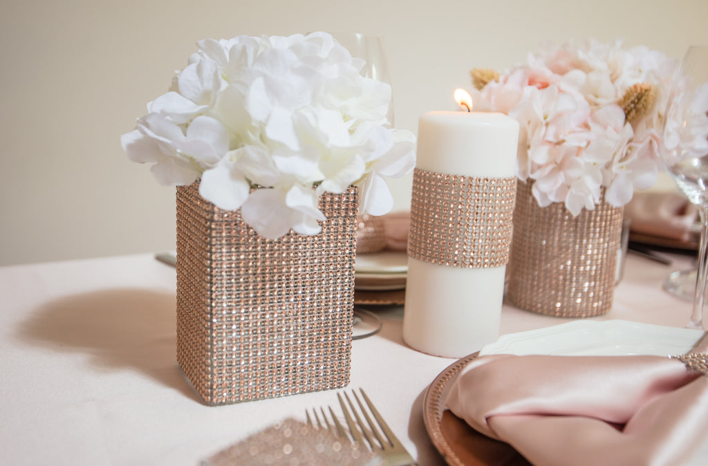 Totally Dazzled Rose Gold Pillar Candles