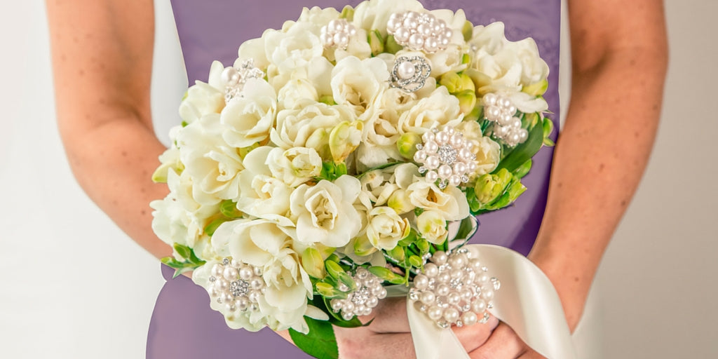 Totally Dazzled 2016 Lookbook Purple and Silver Beautiful Wedding Bouquet With Bling