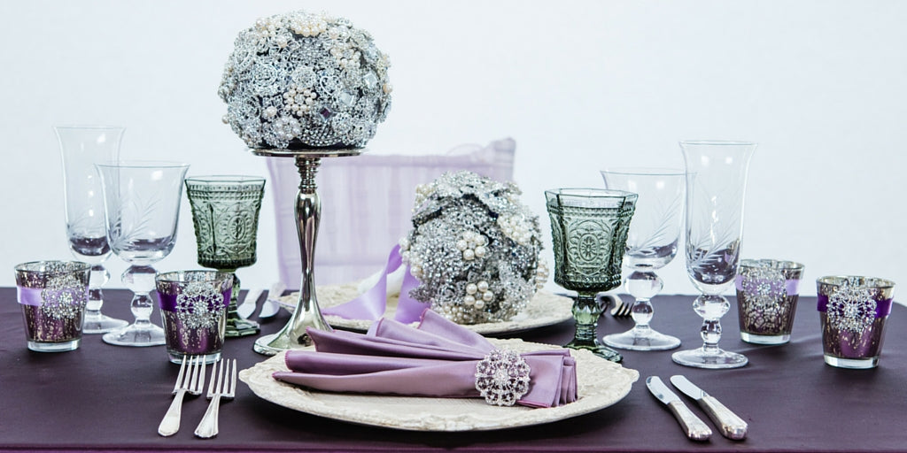 Totally Dazzled 2016 Lookbook Vintage Purple and Silver Tablescape