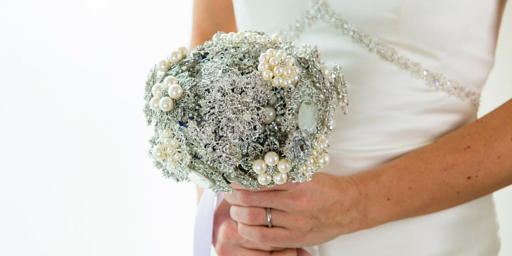 Totally Dazzled 2016 Lookbook Purple and Silver Brooch Bouquet