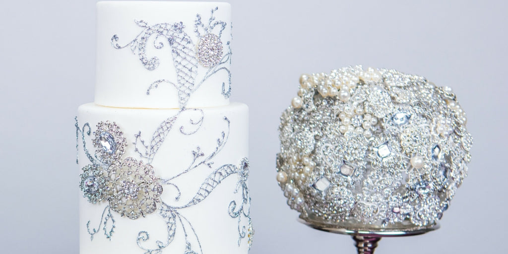 Totally Dazzled 2016 Lookbook Purple and Silver Dummy Cake and Brooch Bouquet