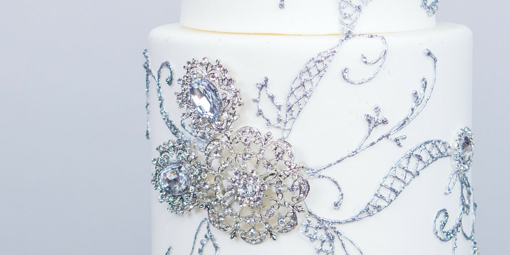Totally Dazzled 2016 Lookbook Purple and Silver Dummy Cake Closeup