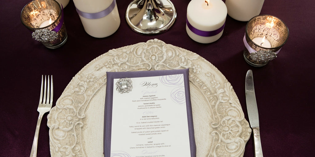 Totally Dazzled 2016 Lookbook Vintage Purple and Silver Menu Card