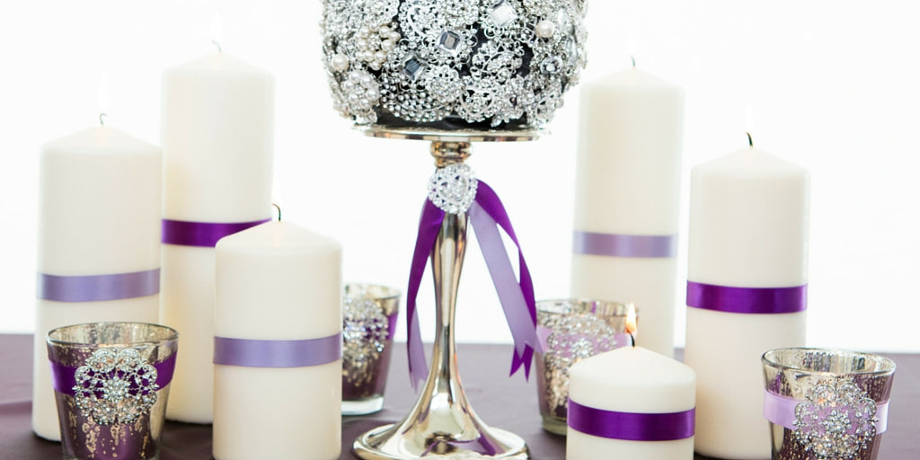 Totally Dazzled 2016 Lookbook Vintage Purple and Silver Table Decorations