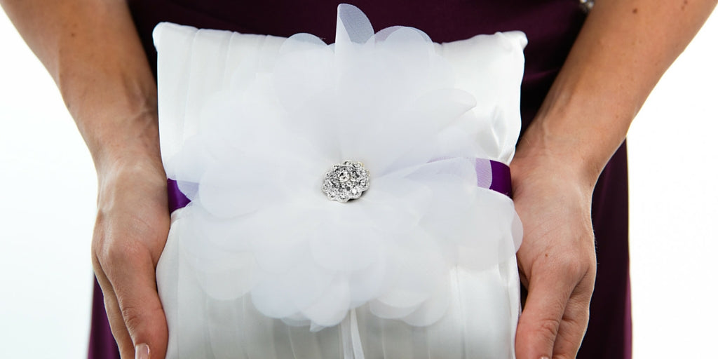 Totally Dazzled 2016 Lookbook Purple and Silver Ring Bearer Pillow