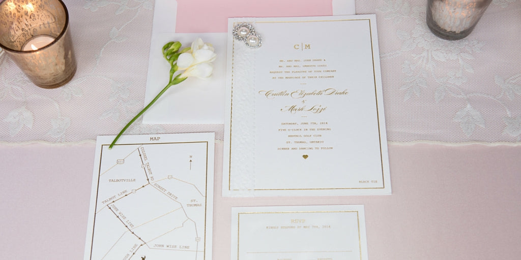 Totally Dazzled Lookbook Vintage Pink and Pearl Invitation Suite