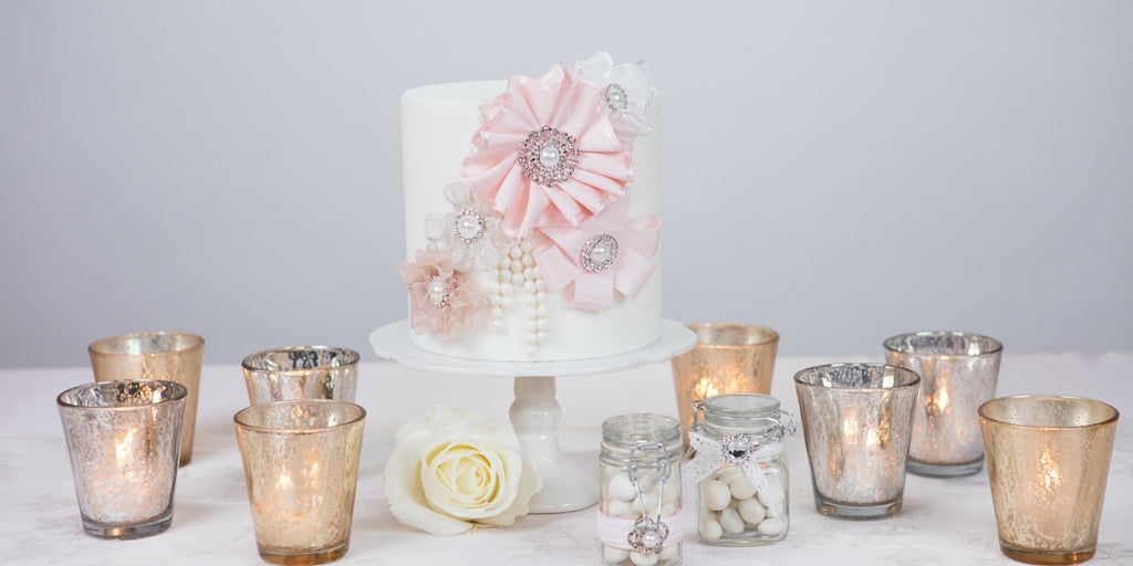 Totally Dazzled 2016 Lookbook Vintage Pink and Pearl Dummy Cake and Candle DIY