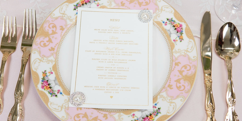 Totally Dazzled 2016 Lookbook Vintage Pink and Pearl Menu Design