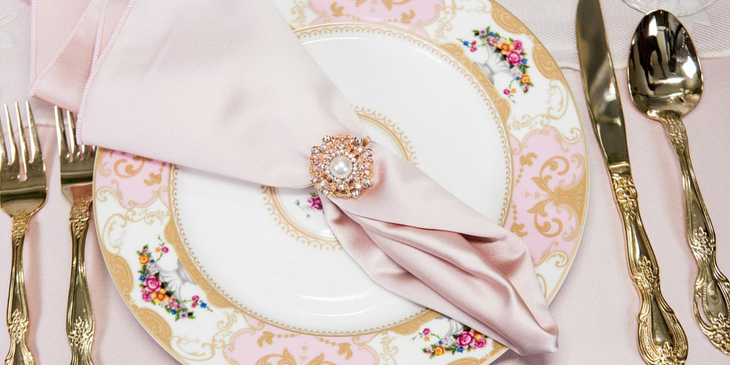 Totally Dazzled 2016 Lookbook Vintage Pink and Pearl Place Setting