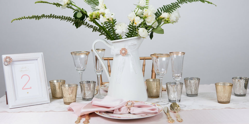 Totally Dazzled 2016 Lookbook Vintage Pink and Pearl Table Decor
