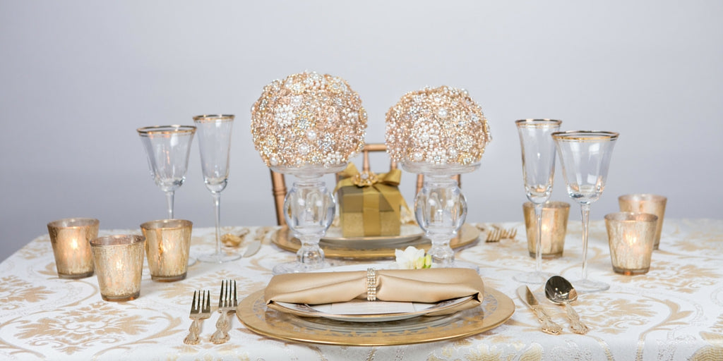 Totally Dazzled 2016 Lookbook Gold Table Setting