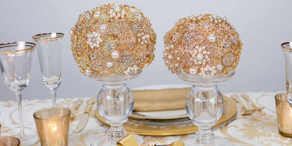 Totally Dazzled 2016 Lookbook Gold Table Brooch Bouquets