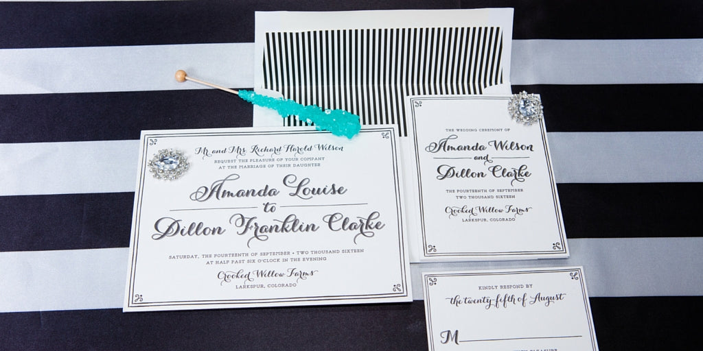 Totally Dazzled 2016 Lookbook Black and White Wedding Stationery Suite
