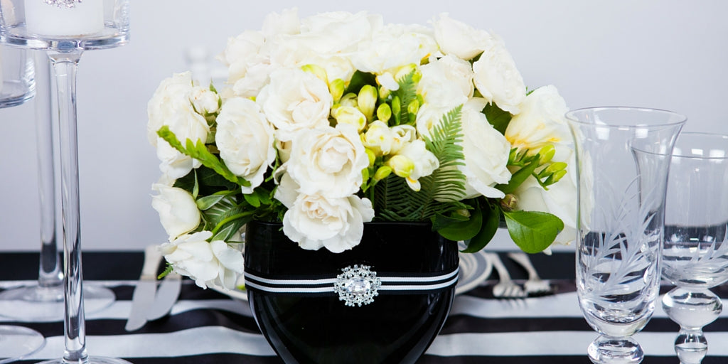 Totally Dazzled 2016 Lookbook Black and White Flower Arrangements