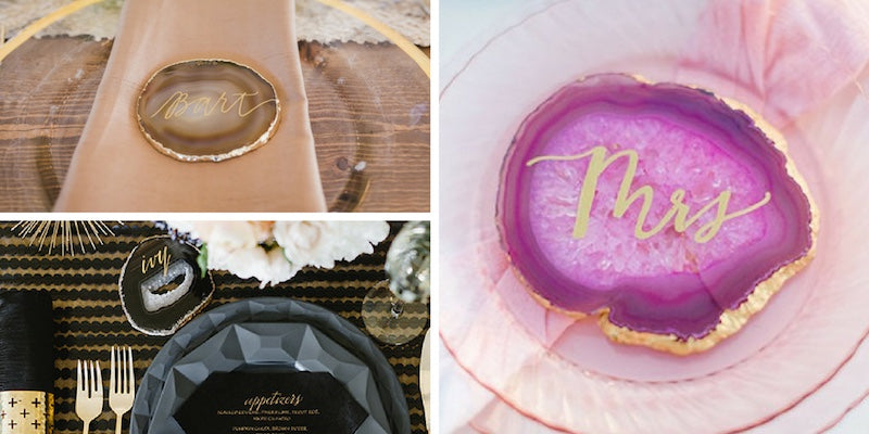 agate placecards for wedding