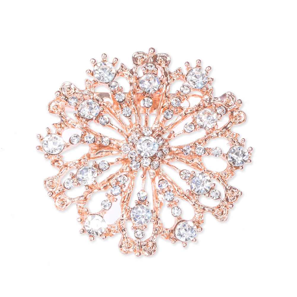Rose Gold Starburst Rhinestone Brooch 407-R