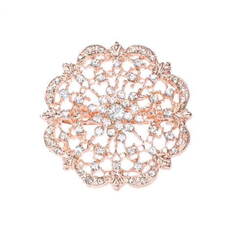 ROSE GOLD DIAMANTE FLOWER BROOCHES 412-R
