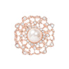 ROSE GOLD FLOWER RHINESTONE PEARL BROOCH